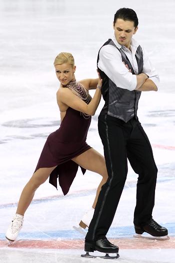 Tatiana Volosozhar and Maxim Trankov at the 2012-13 Grand Prix Final of Figure Skating