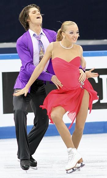 Alexandra Stepanova and Ivan Bukin at the 2012-13 Junior Grand Prix Final of Figure Skating