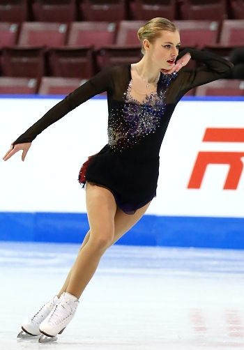 "Larkyn Austman performs to ""Danse Macabre"" at the 2013 Canadian National Figure Skating Championships."