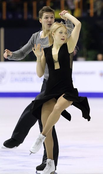 Ekaterina Bobrova and Dmitri Soloviev of Russia perform their Free Dance at the 2013 European Figure Skating Championships.