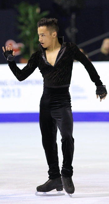 Florent Amodio of France performs his Short Program at the 2013 European Figure Skating Championships.