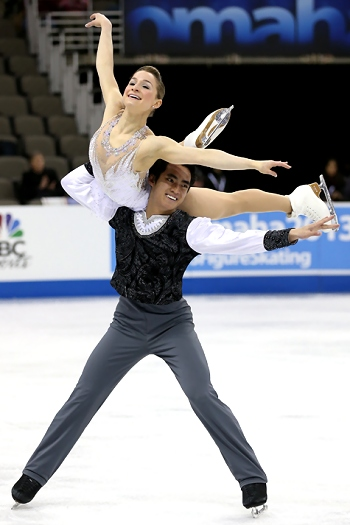 Madeline Aaron and Max Settlage perform their Short Program at the 2013 US National Figure Skating Championships.