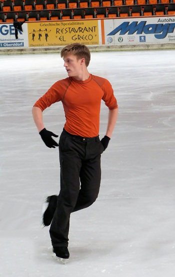 Tomas Verner of the Czech Republic trains at the IceDome in Oberstdorf, Germany.