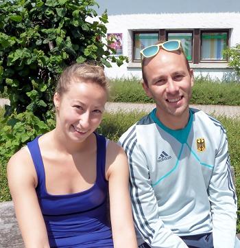 Nelli Zhiganshina and Alexander Gazsi in Oberstdorf, Germany.
