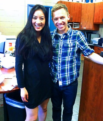 Grant Hochstein and Michelle Kwan share a moment.