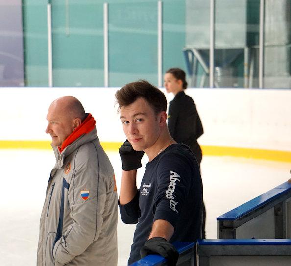 Dmitri Aliev and Coach Evgeni Rukavitsin